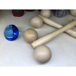 Roller / Rola cu bile Lemn (16 cm) pentru Maderoterapie / Masaj relaxare (cervical, facial) + Cristal CADOU