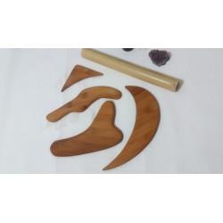Set 5 Accesorii Modelatoare din Lemn de Bambus (4 Palete + Bat special - 20 cm) pentru Masajul Anticelulitic