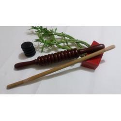 Roller Profesional LEMN (43 cm x 6 cm - diametru) Calitate Superioara pentru Masaj / MaderoTerapie + Cristal CADOU