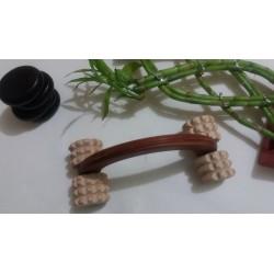 Dispozitiv / Aparat mare (20 cm) din Lemn cu 4 Role Zimtate pentru Masaj + Cristal Cadou