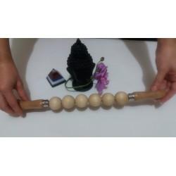 Roller 6 Bile (Sfere) Profesional LEMN Natur (38 cm x 3 cm) pentru Masaj / MaderoTerapie + Cristal CADOU