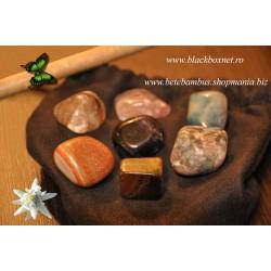 SET 7 Cristale CHAKRA / Pietre semipretioase pentru Masaj, Terapie, Armonie, Protectie si Sanatate + Saculet + Instructiuni